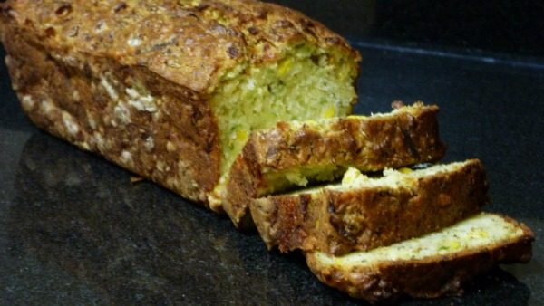 courgette, sweetcorn and cheese bread sliced