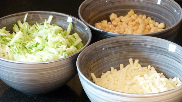 grated courgette, grated zucchini, grated cheese, sweetcorn