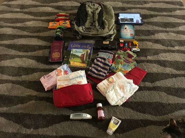 Packing hand luggage for long haul flight with toddler