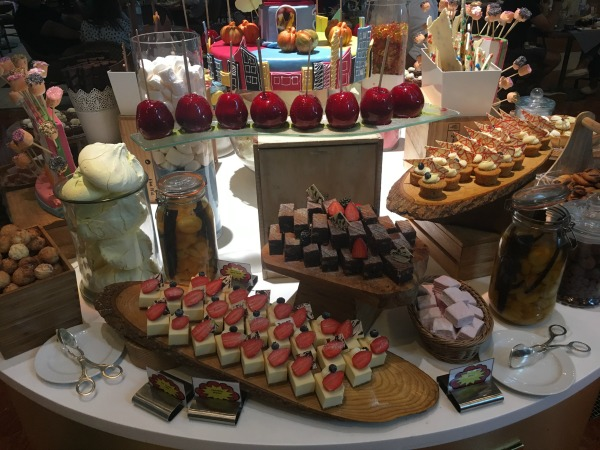 dessert buffet at the superhero brunch at the ritz carlton