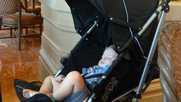 sleeping baby at the superhero brunch at the ritz carlton