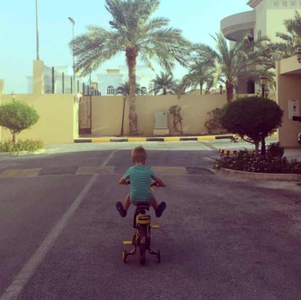 my cautious child riding his bike
