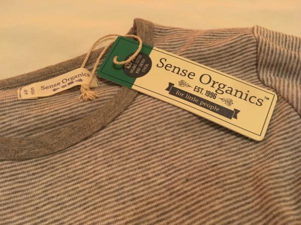 sense organics grey marl stripe pyjamas
