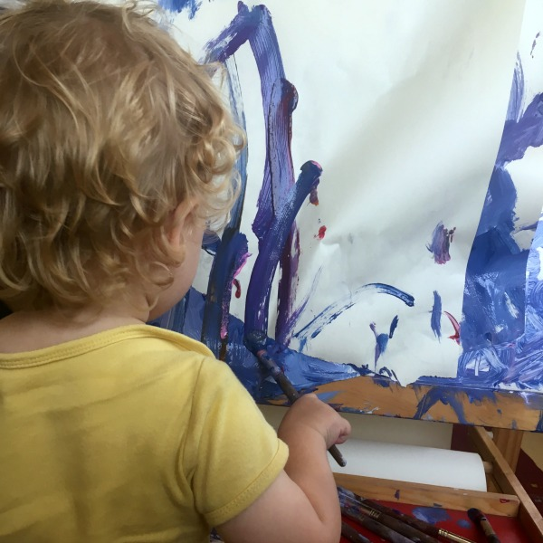 painting and getting messy