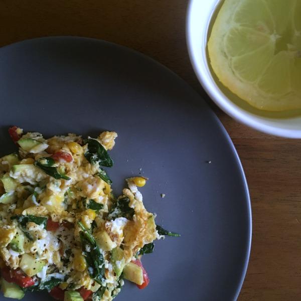 breakfast scrambled eggs and lemon water