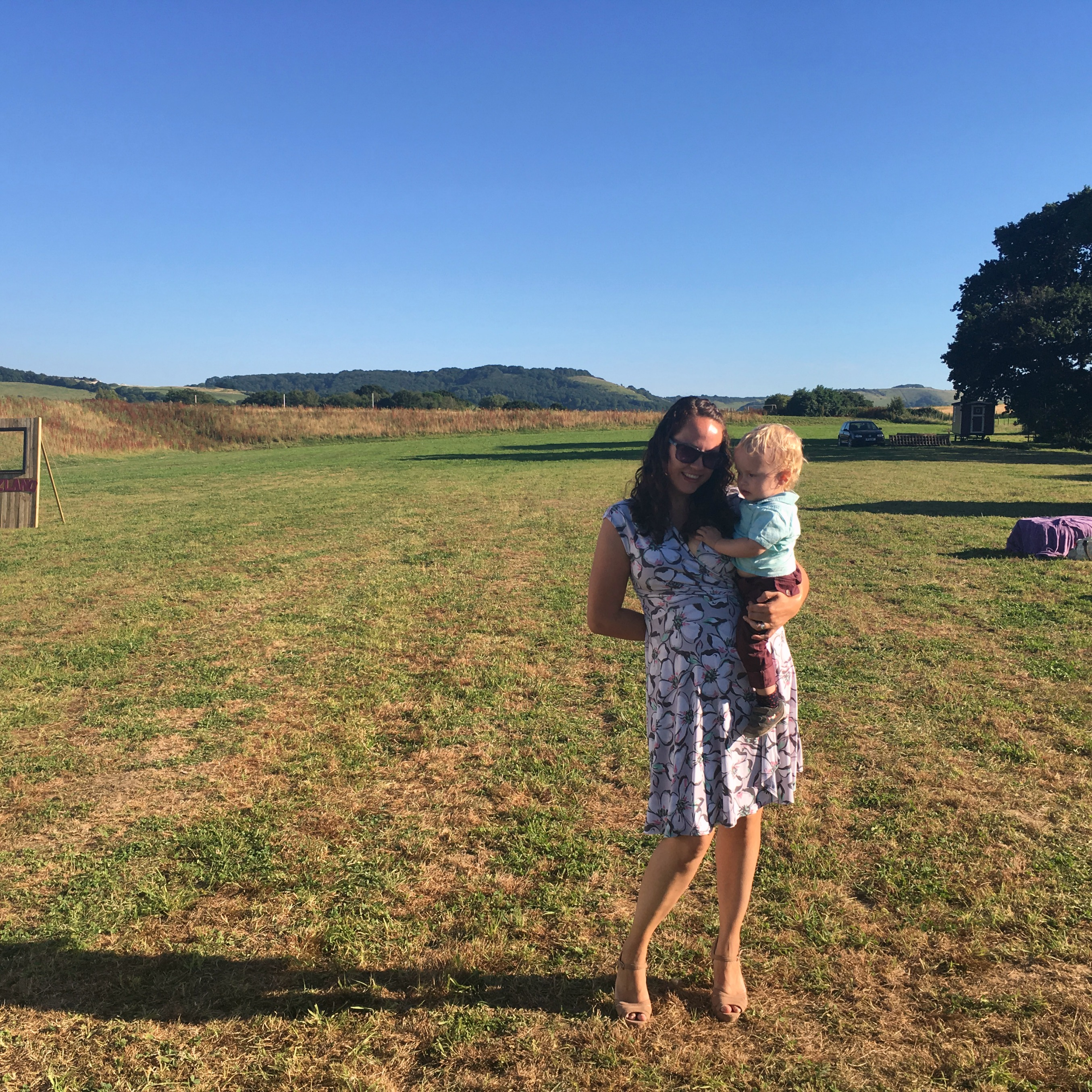 mum and son in a field