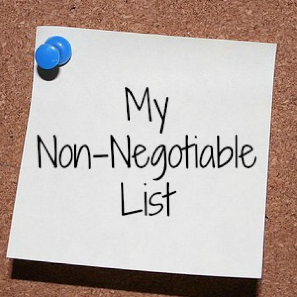 My Non-Negotiable List