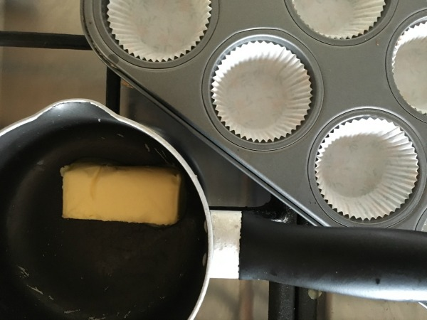 melt butter for chocolate banana bread