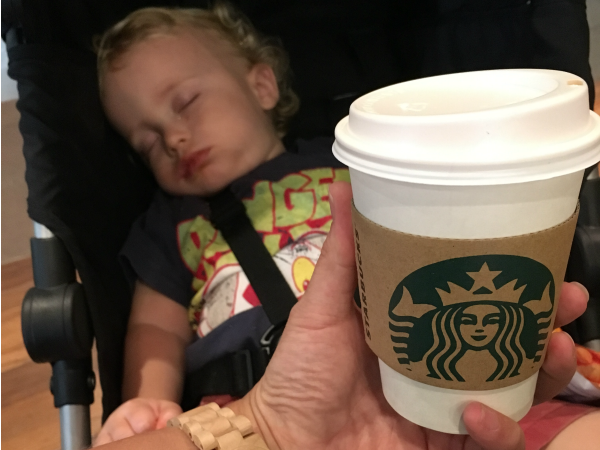 Coffee mornings with a baby, sleeping baby, starbucks coffee, expat life