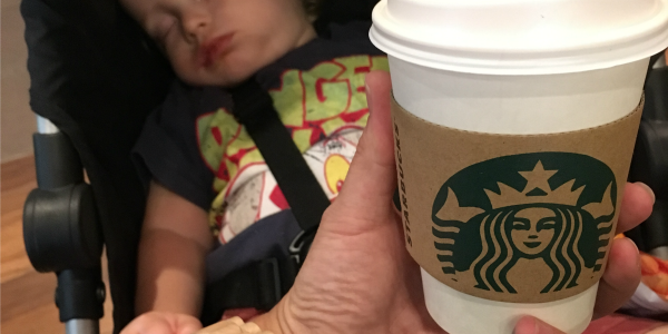Coffee mornings with a baby, sleeping baby, starbucks coffee