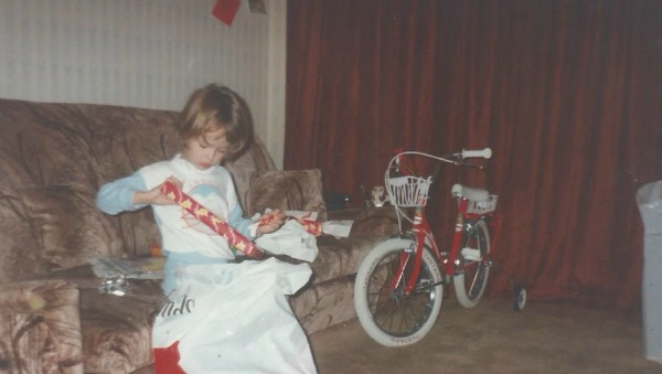 me as a cautious child receiving my first bike for Christmas 1987