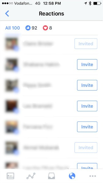 invite button on Facebook