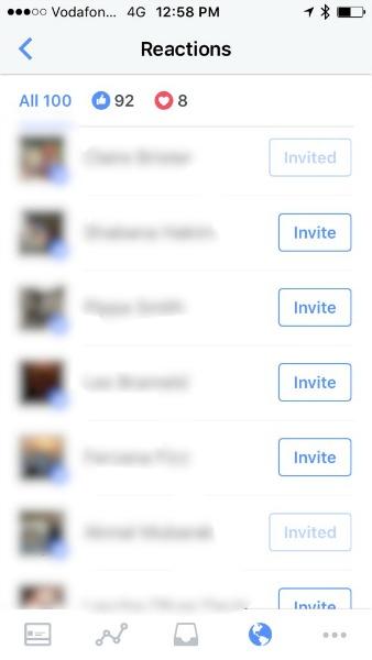 invite button on Facebook