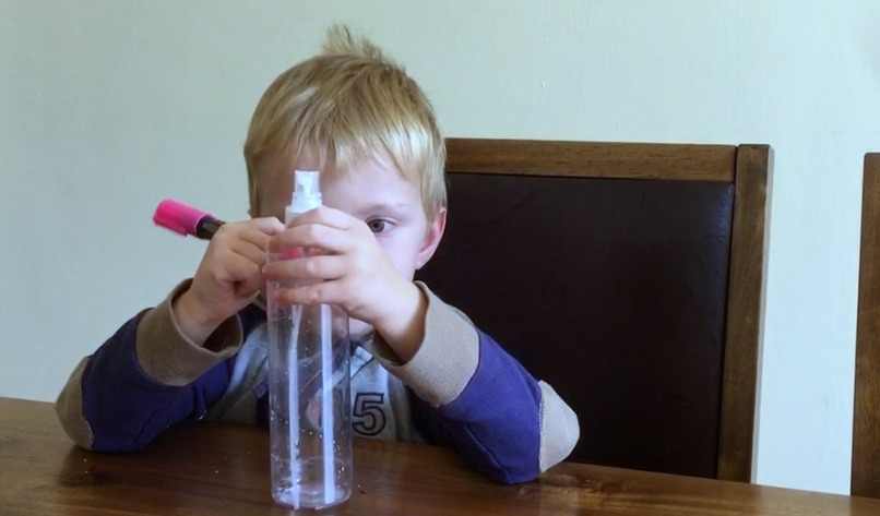making a lavender oil monster spray bottle with chalkola