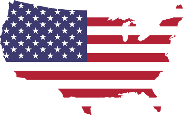 map of america with america flag
