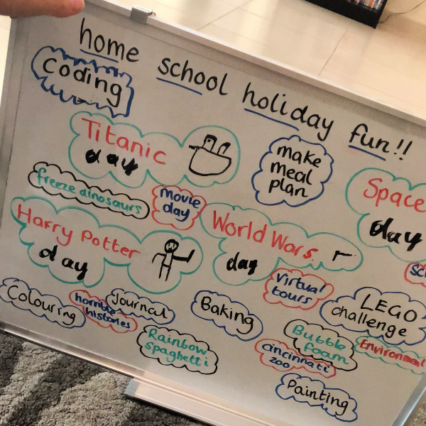 Home school holiday whiteboard planning