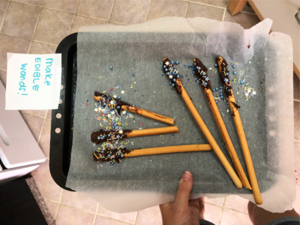 edible breadsticks chocolate sprinkles (Harry Potter Wands)