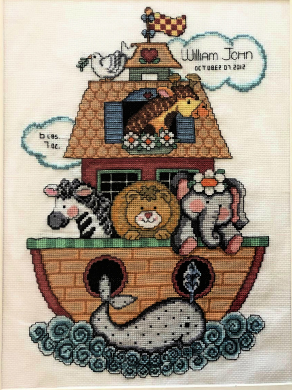 Birth Sampler Cross Stitch Noah's Ark