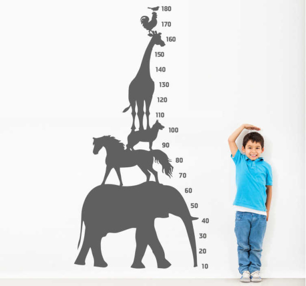 Animal tower height chart wall sticker