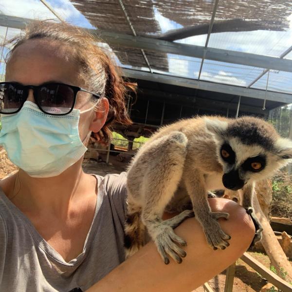 woman with lemur